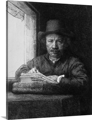 Self portrait while drawing, 1648