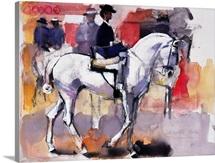 Side-saddle at the Feria de Sevilla, 1998 (mixed media on paper)