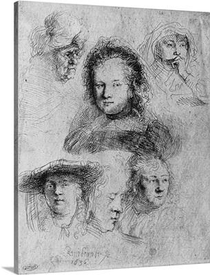 Six heads with Saskia van Uylenburgh (1612-42) in the centre, 1636