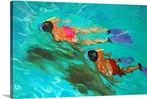 Snorkellers (oil on board)
