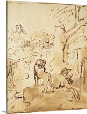 St. Jerome reading in a landscape