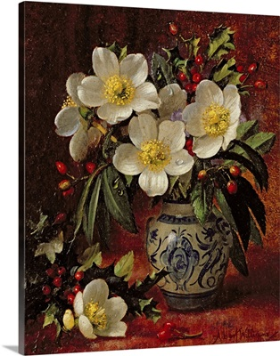 Still Life of Christmas Roses and Holly