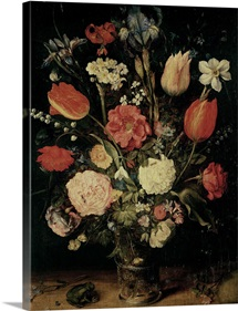 Still Life of Flowers (oil on panel)