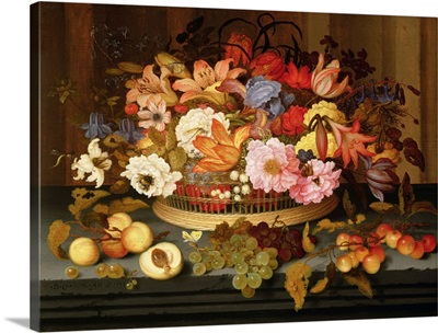 Still Life of Fruit and a Basket of Flowers, 1623