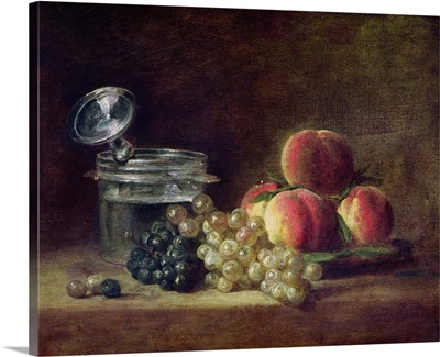 Still Life with a Basket of Peaches, White and Black Grapes with Cooler and Wineglass
