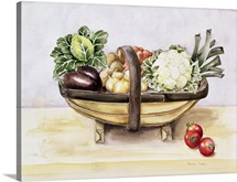 Still life with a trug of vegetables, 1996 (w/c)