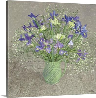 Still Life with Blue and White Freesias, Iris and Michaelmas Daisies