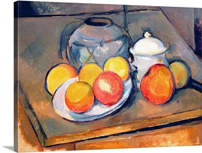 Straw covered vase, sugar bowl and apples, 1890 93
