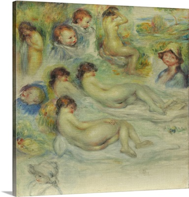 Studies of Pierre Renoir, his Mother, Aline Charigot, nudes, and landscape, 1885-86