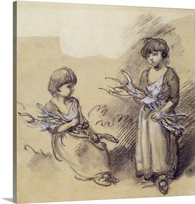 Study of Girls Carrying Sticks