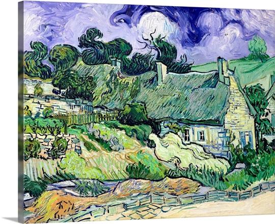 Thatched cottages at Cordeville, Auvers sur Oise, 1890 (oil on canvas)