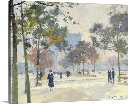 The Arc de Triomphe in Autumn, Paris (oil on canvas)