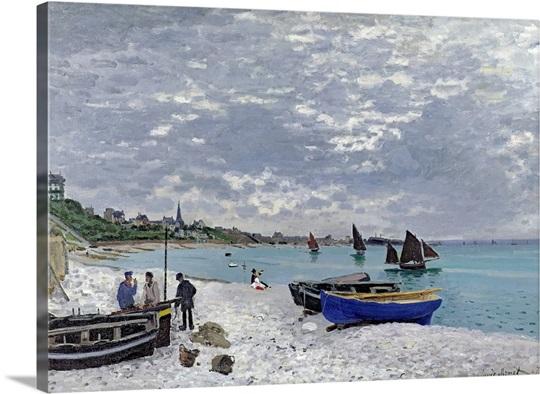 The Beach at Sainte Adresse, 1867 (oil on canvas)