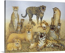 The Big Cats (acrylic on calico)