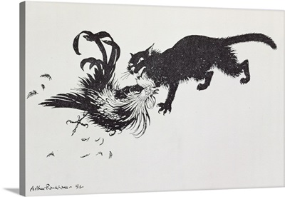 The Cat and the Cock, illustration from Aesop's Fables