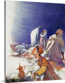 The Christmas Story: The Shepherds' Tale (gouache on paper)
