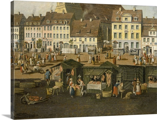 The New Market in Berlin with the Marienkirche c.1770 (oil on panel)