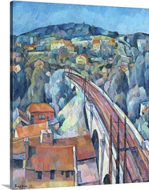 The Railway Bridge at Meulen (oil on canvas)