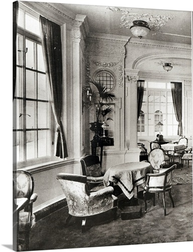 The Reading Room on board the Titanic, 1912 Wall Art, Canvas Prints ...
