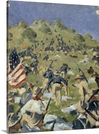 Theodore Roosevelt taking the Saint-Juan Heights, 1898 (oil on wood)