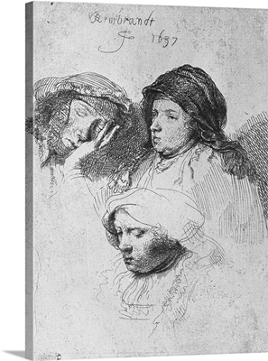 Three female heads with one sleeping, 1637