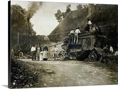 Threshing scene, late 19th century