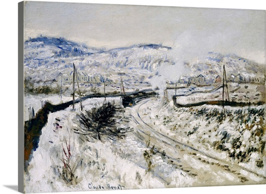 Train in the Snow at Argenteuil (oil on canvas)