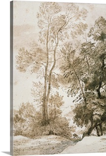 Trees and Deer, after Claude, 1825 (pen