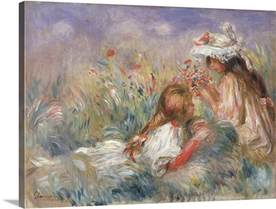 Two Children Seated Among Flowers, 1900