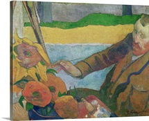 Van Gogh painting Sunflowers, 1888 (oil on canvas)