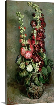 Vase of Hollyhocks, 1886 (oil on canvas)