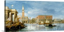 View of the Molo and the Palazzo Ducale in Venice (oil on canvas)