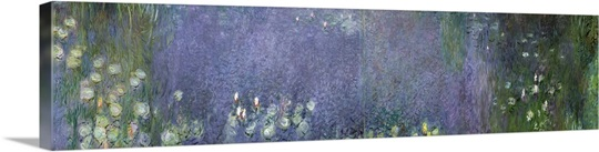 Waterlilies: Morning, 1914 18 (centre left and right section) (oil on canvas)