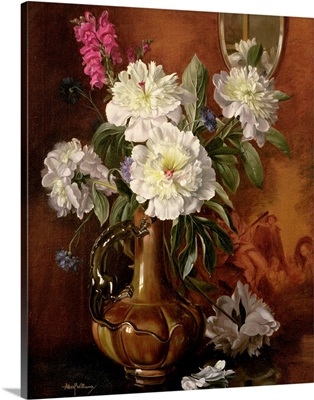 White Peonies in a Glazed Victorian Vase