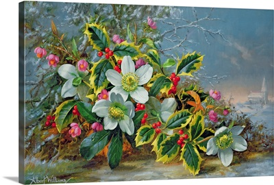 Winter roses in a landscape