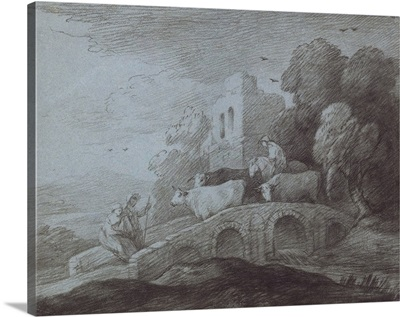 Wooded Landscape with Herdsman Driving Cattle