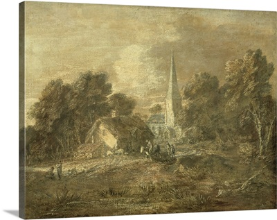 Wooded landscape with village scene, early 1770-72