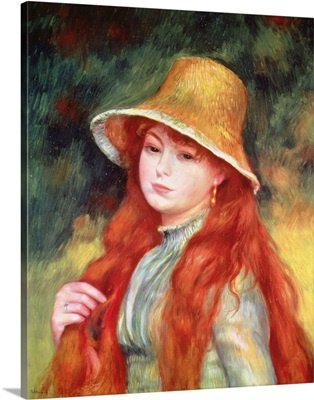 Young girl with long hair, or Young girl in a straw hat, 1884