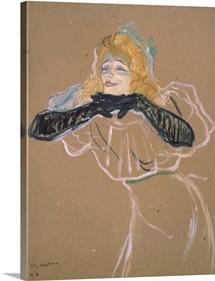 Yvette Guilbert (1867 1944) singing Linger, Longer, Loo, 1894 (oil on cardboard)