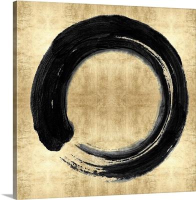 Black Zen Circle on Gold I