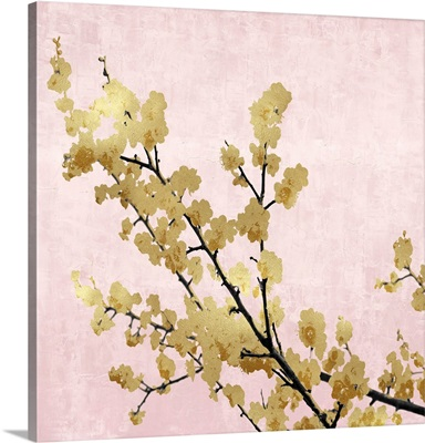 Gold Blossoms on Pink I