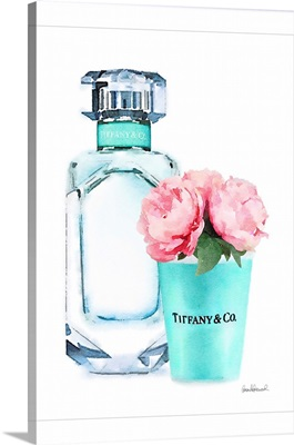 Teal Bottle With Roses