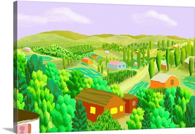 Country Scene with Cabins and Farms