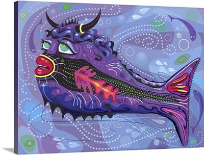 Imaginary Bull Fish in Swirling Sea