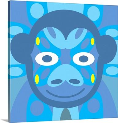 Monkey Mask (Blue Background)