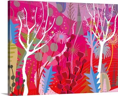 Red Magenta Forest Landscape