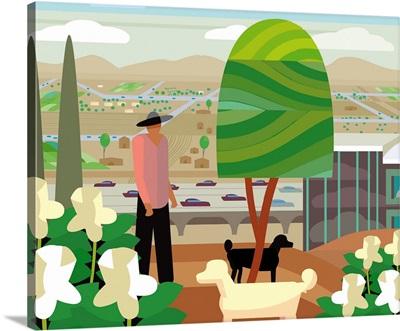 Scottsdale Arizona Landscape with Man and Dogs