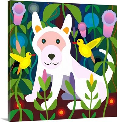 White Dog in Garden (Square)