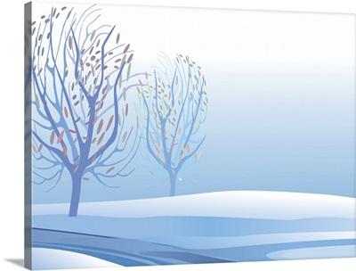 Winter Stream and Trees (Horizontal)