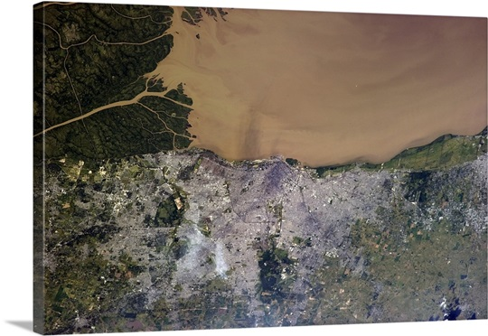 Buenos Aires, Argentina - the Rio de La Plata visibly filled with silt from upstream